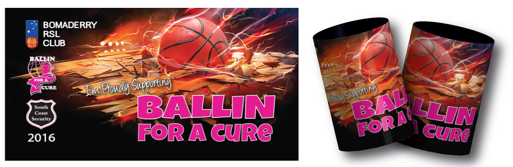 Ballin for a cure fundraising stubby holder design