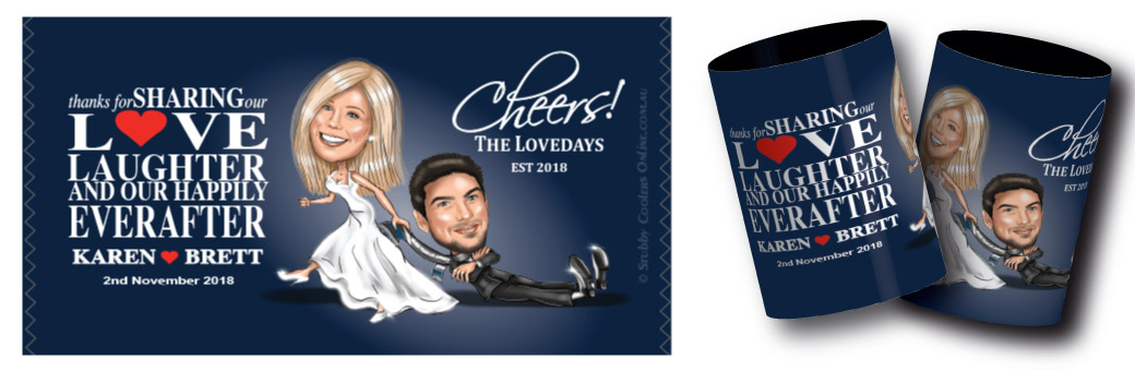 A personalised caricature stubby holder
