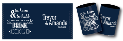 Amanda & Trevor's stubby holders for their wedding