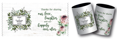 Chloe & Courtney's bo ho wedding stubby holder