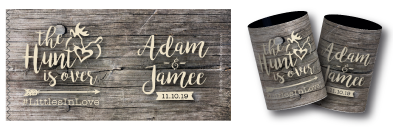 Jamee & Adam's stubby holders for their wedding