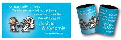 Josh & Kynomie's stubby holders for their wedding