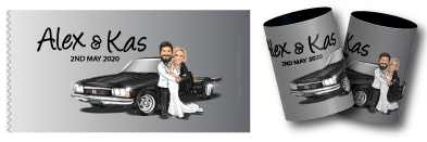 Kas & Ales Wedding caricature stubby holders