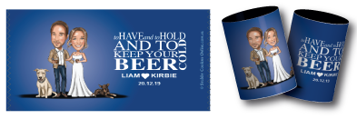 Kirbie & Liam's stubby holders for their wedding