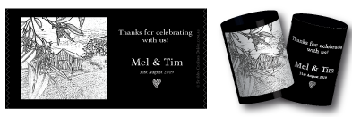 Mel & Tim's stubby holders for their wedding