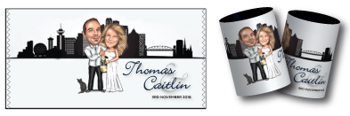Thomas & Caitlin's caricature wedding stubby holders
