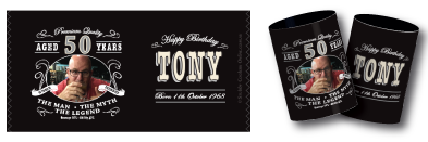 Tony's birthday stubby holders